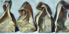 ( Reminds me of the sack lunches Mom use to fix for us for school. There were 7 boys and myself to pack for.)--- painting by Karen Appleton Drawing Projects, Art Projects, Art Aquarelle, Ap Studio Art, A Level Art, Polychromos, Painting Still Life, Ap Art, Gcse Art