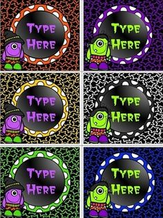 """******Editable Halloween Labels contains 6 blank Editable Halloween Labels.Size of the labels are:3.23 """" * 3.65""""."""