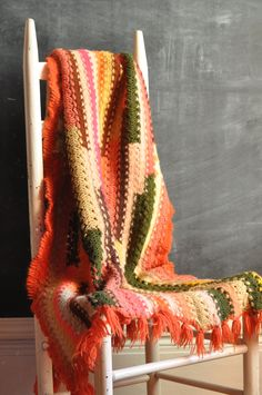 Vintage Crochet Afghan Throw Blanket Scarf or Wrap