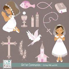 Girl First Communion Clip Art Communion Clipart por DigiKika
