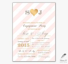 Pink & Gold Engagement Party Invitations - Printed or Printable Monogram Wedding Striped Bridal Shower Blush Couples Brunch Typography- #031 by chitrap on Etsy https://www.etsy.com/listing/211585466/pink-gold-engagement-party-invitations
