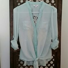 """Mint Sheer Top with Crochet Detail Sheer top is mint with white crochet in the back. Length of front of shirt approximately 22"""". Back length 25"""". Unrolled sleeve 24"""". Body 100% polyester. Lace 60% cotton 40% nylon. No stains, tears, snags, or pilling. Non smoking home Candie's Tops"""