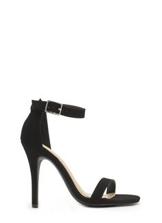 Singled Out Faux Nubuck Heels NUDE BLACK - GoJane.com