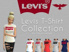 Levis T-Shirt Collection by Falcon Design [MADE IN GERMANY] Found in TSR Category 'Sims 4 Female Everyday'