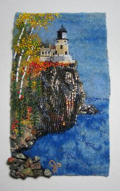 My mom and I will be taking a class in bead embroidery from Jo Wood (www.jowoodbeads.com), who created this beautiful piece showing Split Rock Lighthouse. She's one of many teachers at North House Folk School in Grand Marais, Minnesota. http://www.northhouse.org/courses/courses/course.cfm/cid/44