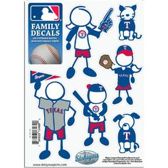 Texas Rangers MLB Family Car Decal Set (Small)
