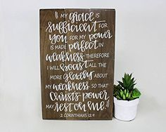 Christian Bible verse art wood sign God's power strength strong weakness Christ's power my grace is sufficient for you for my power is made perfect in weakness My Grace is Sufficient 2 Corinthians Sign Scriptures About Strength, Bible Verse List, Painted Letters, Painted Signs, Gods Strength, Strength Bible, Proverbs 3 5 6, Wood Signs Sayings, Be Strong And Courageous