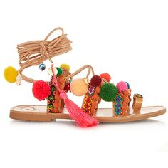 Get ready to pimp your gladiators – if footwear with a colour pop sounds like your breed of summer style, check out the latest creations from Greek designer Elina Linardaki. Her leather sandals are decorated and embellished with bright pom-poms, gold detailing and bold weaves, making them the perfect injection of fun for your beachside look.