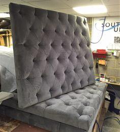 Upholstered headboard in grey velvet