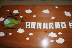 Flying Helicopter Birthday Banner - but use a vintage biplane