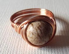 Picture Jasper Ring Copper Ring Wire Wrapped by PepperandPomme