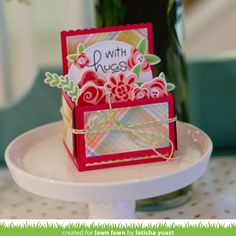 Lawn Fawn - Scalloped Box Card Pop-up, Fab Flowers _ card by Latisha for Lawn Fawn Design Team Fancy Fold Cards, Folded Cards, Lawn Fawn Blog, Pop Up Box Cards, Card Boxes, Lawn Fawn Stamps, Interactive Cards, Diy Cards, Homemade Cards