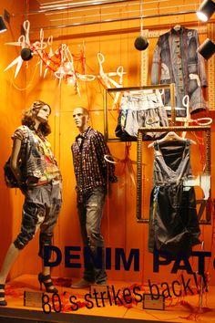 >>>Cheap Sale OFF! >>>Visit>> denim patch pinned by Ton van der Veer Denim Window Display, Window Display Design, Window Displays, Store Displays, Clothing Displays, Boutique Decor, Retail Merchandising, Visual Display, Pop Up Shops
