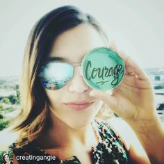 It's just the greatest feeling when customers and friends post pictures of their #Joyfulroots art in real life! Thank you @creatingangie for sharing this amazing photo! Courage is a good look for you gorgeous! Thanks for brightening my world with your friendship and this picture.  _ #twitter #irl #artistsofinstagram #mantras
