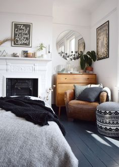ideas and inspiration home decor - Scandinavian bohemian white and soft tones natural elements bedroom