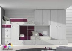 Dormitorio Infantil 2 Camas tipo Tren Armario