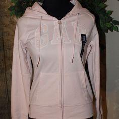 NWT Baby Pink GAP logo hoodie Cute and comfortable baby pink zip up hoodie by GAP. GAP Sweaters