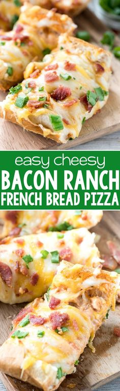 Cheesy Bacon Ranch French Bread Pizza - this easy dinner recipe combines ranch with PIZZA! Ranch is mixed with pizza sauce and topped with extra cheese and bacon. The perfect weeknight meal!