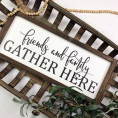 """Autumn Fall Sign 6/"""" X 6/"""" /""""Friends /& Family Gather Here/"""" approx"""