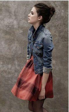 dress and denim jacket