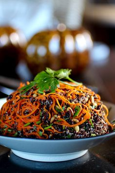 """A Twist on Carrots and Quinoa Spiraled Carrots, Black Quinoa Pine Nuts, Currants, Parsley, Mint, Chives Lemon Juice, Olive Oil Here's a healthy side dish, perfect for the Autumn Holidays. Black quinoa and orange spiralized carrot make a striking presentation. Toasted pine nuts and plumped currants plus lots of fresh herbs all tossed with lemon … Continue reading """"A Twist on Carrots and Quinoa"""""""
