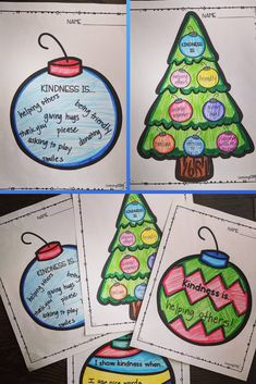 Ornaments of Kindness! Perfect for the holidays and Christmas Kindness Activities, Counseling Activities, Therapy Activities, Christmas Activities, Kindergarten Activities, Holiday Fun, Christmas Holidays, Winter Holiday, Christmas Writing