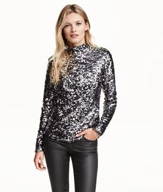 Sequined Turtleneck Top | Product Detail | H&M