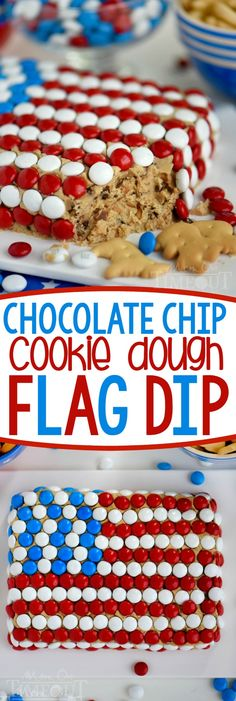 Celebrate with this outrageous Chocolate Chip Cookie Dough Flag Dip this of July weekend! Edible chocolate chip cookie dough is loaded with toffee bits and peanut butter chips for the most delicious dip ever! Decorated in red, white, and blue, this ea Brownie Desserts, Oreo Dessert, Mini Desserts, Coconut Dessert, 4th Of July Desserts, Fourth Of July Food, Dessert Dips, Easy Desserts, Dessert Recipes