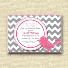 Preppy Chevron Bird Baby Shower Invitation - Gray Hot Pink and Light Pink - PRINTABLE INVITATION DESIGN by MommiesInk on Etsy https://www.etsy.com/listing/182955674/preppy-chevron-bird-baby-shower
