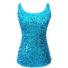 Turquoise Slimming Ladies Crew Neck Sleeveless Sequined Tank Top ($11) ❤ liked on Polyvore featuring tops, shirts, tank tops, blue, turquoise, crew neck shirt, sequin tank top, slim fit shirts, blue sequin top and sleeveless shirts