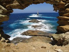 Andros island, Greece  Inside the fort looking out at lighthouse by menace6902, via Flickr                                                                                                                                                           Insid..