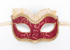 Burgundy And Gold Masquerade Mask   Venetian Style New by SOFFITTA