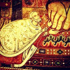 [PT] Honório III minimamente aos pés do Cristo Todo-Poderoso, no mosaico da ábside da Basílica Papal de São Paulo Fora-dos-Muros. Esta é uma perfeita imagem teológica da função do Vigário de Cristo: o instrumento visível para chefiar a Igreja até a Sua volta. O mosaico foi iniciado pelo predecessor, Inocêncio III, e concluído pelo próprio Papa no início do século XIII