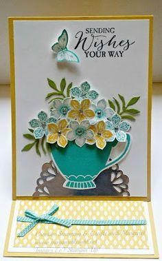 Easel Card using Stampin' Up! A Nice Cuppa stamp set, Cups & Kettles Framelits Dies, Petite Petals Stamp Set, Petite Petals Punch, and more.