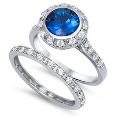 925 Sterling Silver Carat Round Bezel Set Blue Sapphire Clear Topaz Wedding Engagement Anniversary Bridal Set Ring and Matching Band Bridal Ring Sets, Bridal Rings, Wedding Rings, Bridal Jewelry, Double Wedding Bands, Engagement Sets, Wedding Engagement, Bridesmaid Jewelry Sets, Small Rings