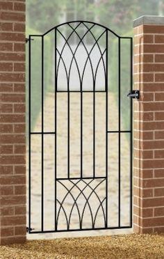 Verona Modern Tall Side Garden Gates 850 to Gap wrought iron metal gate Wrought Iron Driveway Gates, Metal Garden Gates, Gates And Railings, Metal Gates, Wrought Iron Doors, Metal Fence, Gates Driveway, Concrete Fence, Aluminum Fence