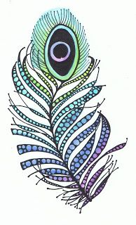 I will not die an unlived life...: PEACOCK FEATHER - ZENTANGLE