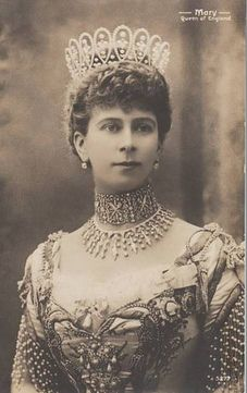Mary wearing the Loop tiara, with County of Surrey tiara  being worn as a necklace.  See pin of her wearing the second one as at tiara.
