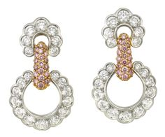 PAIR OF DIAMOND AND FANCY PINK DIAMOND EARRINGS, SUNA,  mounted in 18ct gold and platinum, ear clips stamped 14ct, signed Suna,
