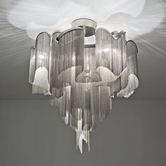 The beautiful modern metal chain cascading ceiling light by designer Christian Lava for Terzani at Italian Lighting centre Chandeliers, Glass Chandelier, Ceiling Pendant, Ceiling Lamp, Chandelier Lighting, Ceiling Lights, Pendant Lights, Unique Chandelier, Metal Ceiling