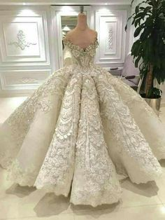 Luxury Ball Gown Wedding Dress Off the Shoulder Sparkly Crystals Beads Sequins Lace Appliques Luxurious Bridal Gowns with Long Train - Weddings: Dresses, Engagement Rings, and Ideas Wedding Dress Styles, Dream Wedding Dresses, Bridal Dresses, Wedding Gowns, Lace Wedding, Wedding Venues, Trendy Wedding, Snow White Wedding Dress, Dubai Wedding Dress