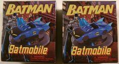 Set 2 DC Comics Batman Batmobile Mega Mini Kits Books Model Car Display Base NEW