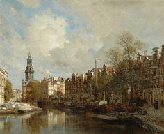 Johannes Christiaan Karel Klinkenberg (Den Haag 1852-1924) De bloemenmarkt in Amsterdam met de Munttoren - Kunsthandel Simonis en Buunk, Ede (Nederland).
