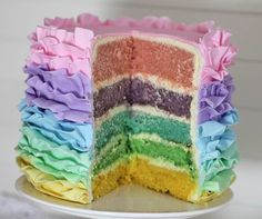 Just a quick sneak peek of the pastel rainbow ruffle cake I made up for an Easter Dessert Party table. I& do up a tutorial for. Dessert Party, Party Desserts, Pretty Cakes, Beautiful Cakes, Amazing Cakes, Cake Cookies, Cupcake Cakes, Rainbow Layer Cakes, Desserts Ostern