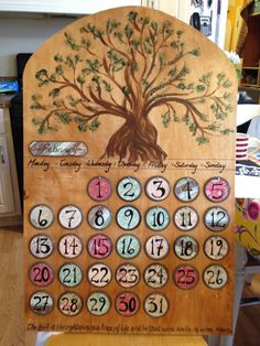 The perpetual calendar created for a charity auction at my children's school (www.tlcs.us/auction).  Sold for $130!!!