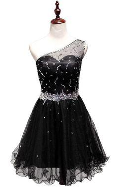 Black Sleeveless Mini One Shoulder A Line Beading Short Homecoming Dress