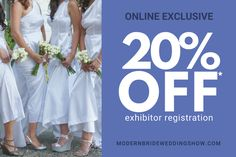 Modern Bride Wedding Show hosts to top wedding professionals looking to provide engaged couples with the essential tools so they can plan their wedding day. Bridal Show, Wedding Show, Wedding Bride, Wedding Day, Professional Look, 20 Off, Engagement Couple, Couples, Modern