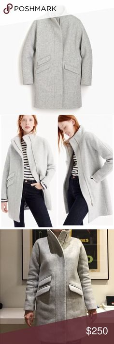 J. Crew Cocoon Italian Stadium Cloth Wool Coat Lovely, warm, wool coat. Worn once - basically new! The sizing runs pretty big; I usually wear a size 2 in J. Crew tops and this coat has about 4 extra inches. Hoping to size down; that's the only reason I'm selling! J. Crew Jackets & Coats Pea Coats