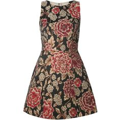 Alice+Olivia floral jacquard flared sleeveless dress ($565) ❤ liked on Polyvore featuring dresses, black, flower print dress, flare dress, kohl dresses, black sleeveless dress and jacquard dress