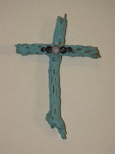 Turquoise Cholla Wood Cross by ArtByBeverlySchwab on Etsy, $22.00